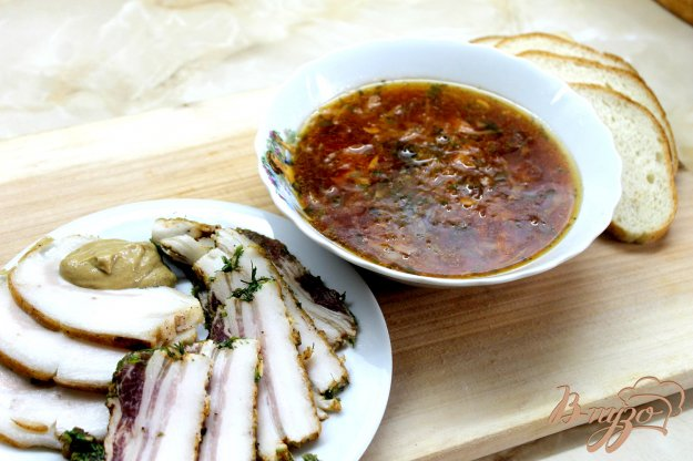 фото рецепта: Свекольный борщ на курином бульоне