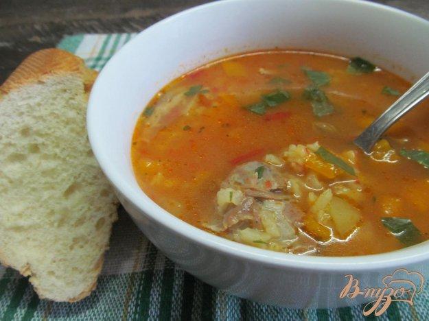 фото рецепта: Томатный суп с рисом на баранине