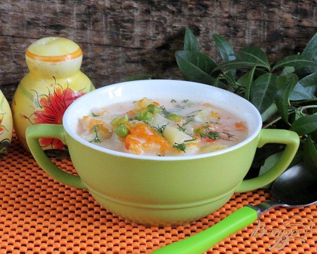 фото рецепта: Суп овощной с тыквой и горошком