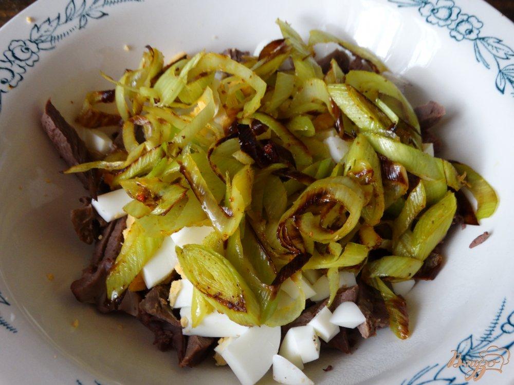 Салат с луком пореем и фасолью