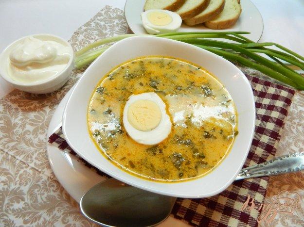 фото рецепта: Зеленый борщ с щавелем и яйцом