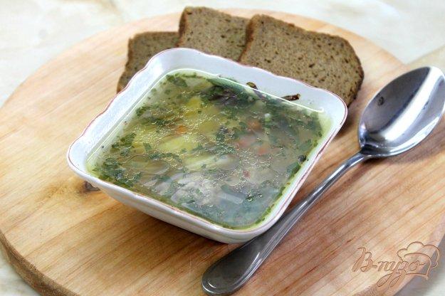 фото рецепта: Суп на курином бульоне с макаронами и свиными фрикадельками