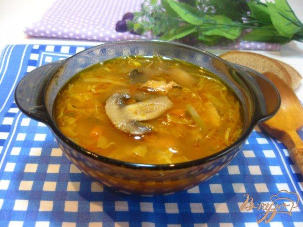 фото рецепта: Борщ с рыбным консервами и грибами