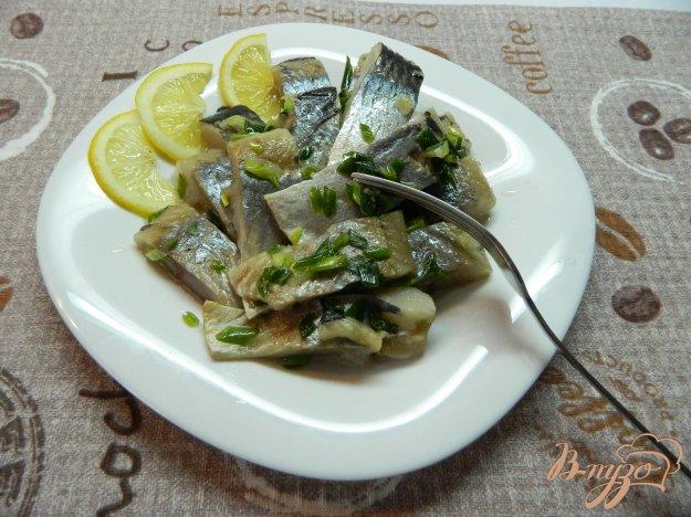 фото рецепта: Малосольная селедка с зеленым луком