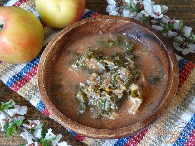 фото рецепта: Зеленый борщ со стручковой фасолью