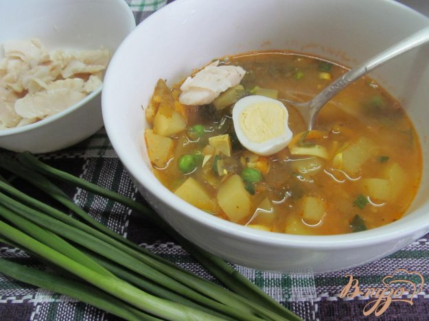 фото рецепта: Суп на рыбном бульоне с овощами и булгуром