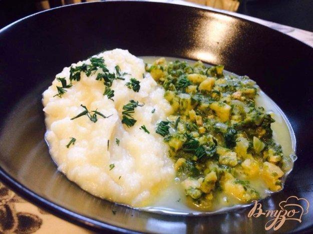фото рецепта: Филе хека со шпинатом и картофельным пюре