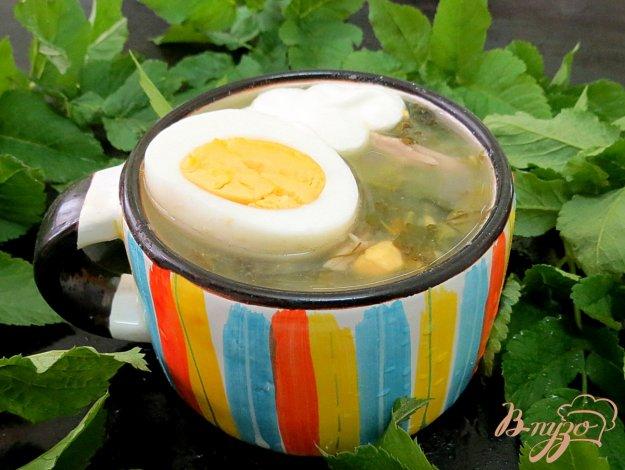 фото рецепта: Щавелевый суп со шпинатом и картофельным пюре