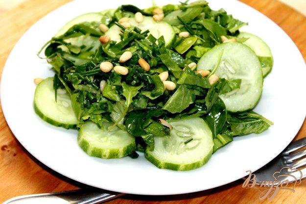 фото рецепта: Зеленый салат с огурцом и кедровым орехом
