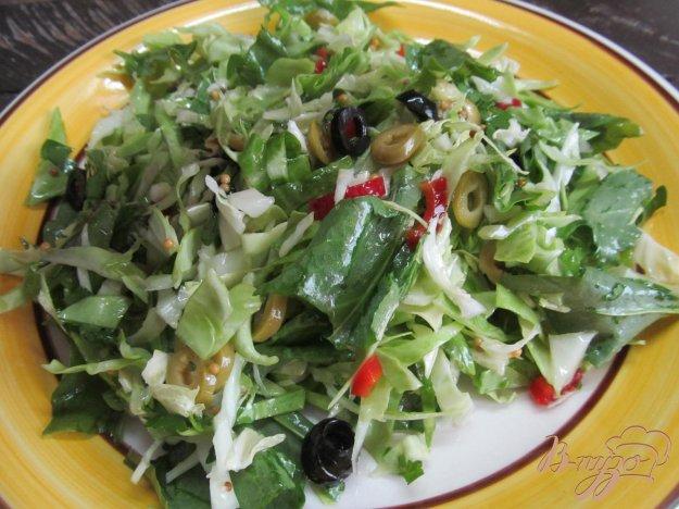 фото рецепта: Капустный салат с оливками перцем и щавелем