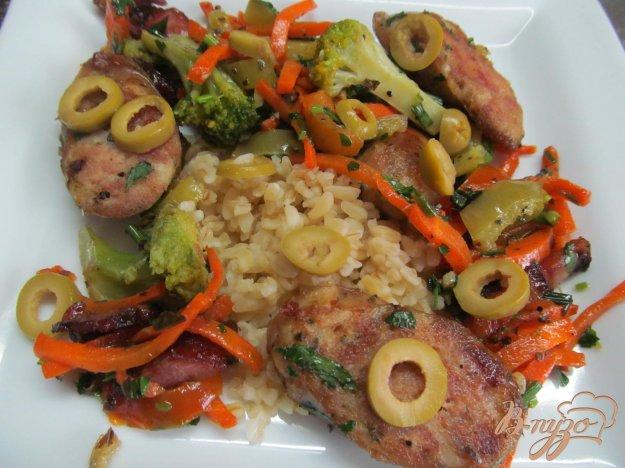 фото рецепта: Жареные овощи по-итальянски с куриными колбасками