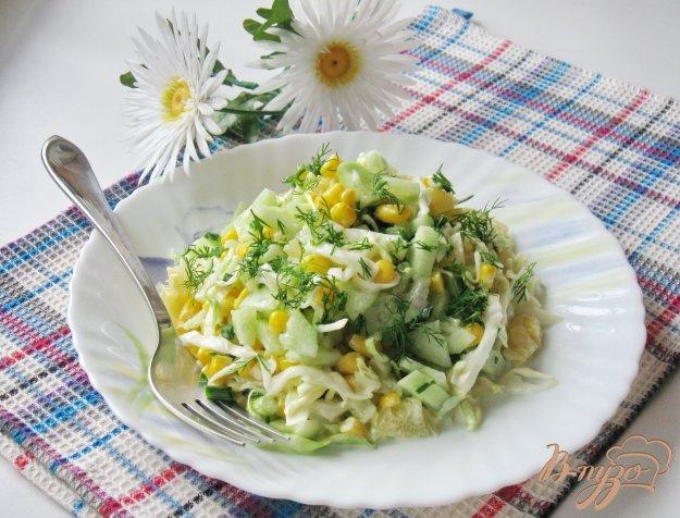 фото рецепта: Салат с ананасом, огурцом и луком