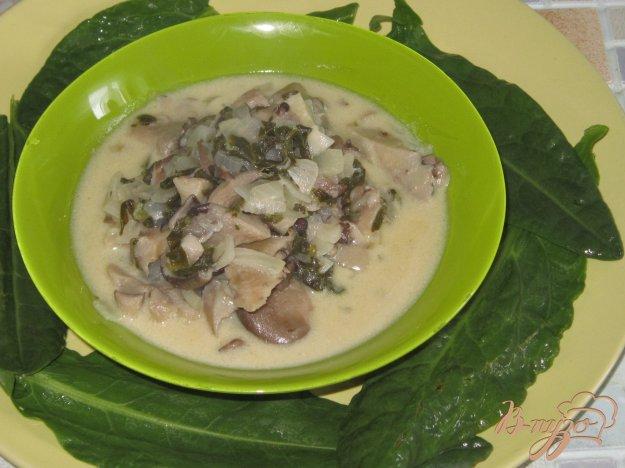 фото рецепта: Вешенки тушенные со щавелем в сметане