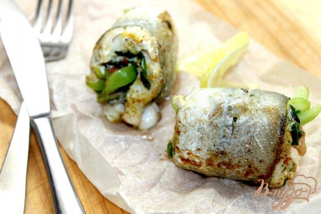 фото рецепта: Рыбные мини - рулеты фаршированные овощами