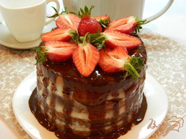 Бисквитный торт с заварным кремом и клубникой - пошаговый рецепт с фото