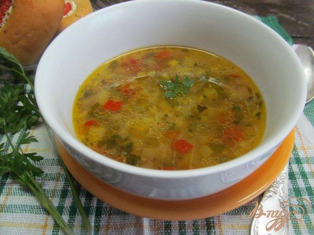 фото рецепта: Суп с булгуром горохом и мексиканской смесью