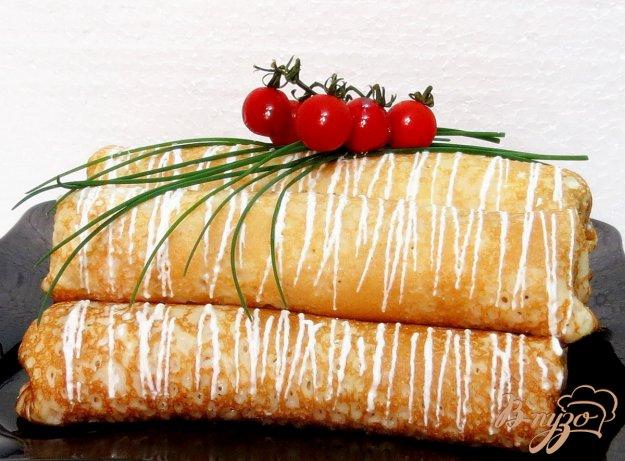 фото рецепта: Блины со шпинатом и творогом.