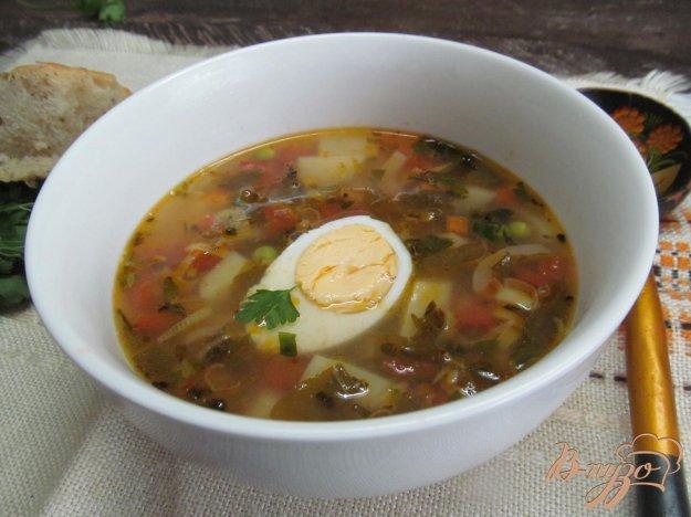 фото рецепта: Овощной суп с макаронами и щавелем