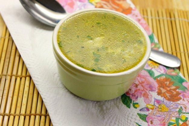 фото рецепта: Суп на курином бульоне с рисом и яйцом