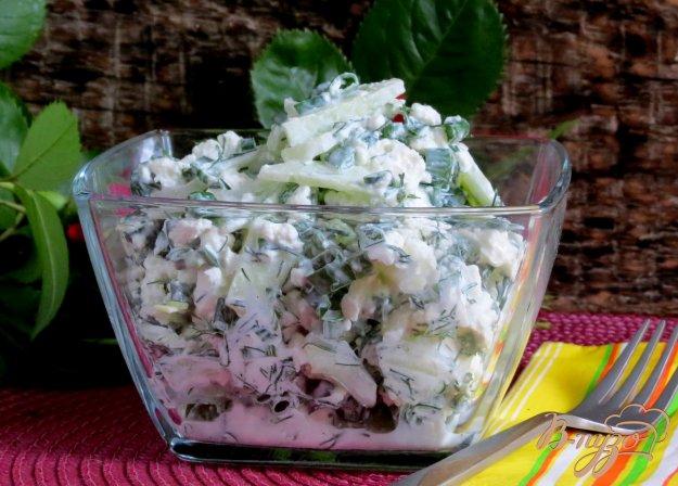 фото рецепта: Салат из творога с зелёным луком и огурцами