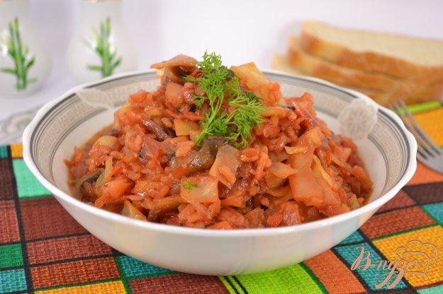 фото рецепта: Овощное рагу с рисом и шампиньонами в мультиварке