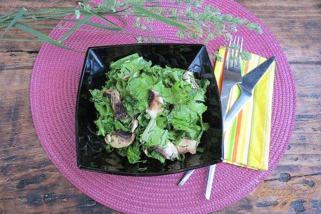 фото рецепта: Салат из грибов, листьев салата и зелёного лука