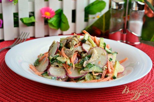 фото рецепта: Салат из моркови с редисом, свежим огурцом и мясом