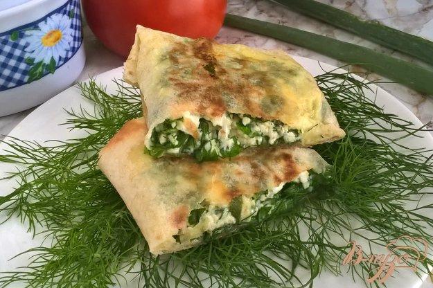 фото рецепта: Конвертики из лаваша с творогом и зеленью