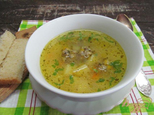 фото рецепта: Овощной суп с фрикадельками из мяса с кабачком