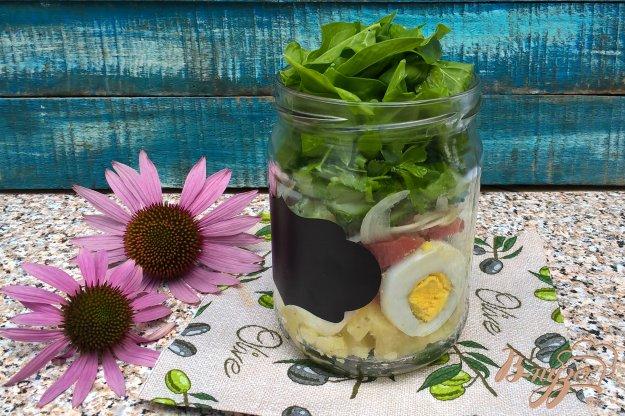 фото рецепта: Салат в банке с овощами и яйцом