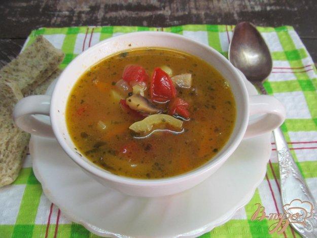 фото рецепта: Овощной суп с грибами и перловкой на бульоне из почек
