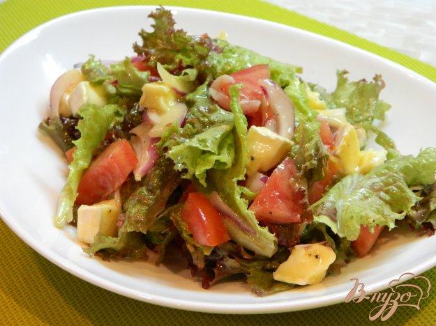 фото рецепта: Салат из помидоров, листьев салата и сыра бри