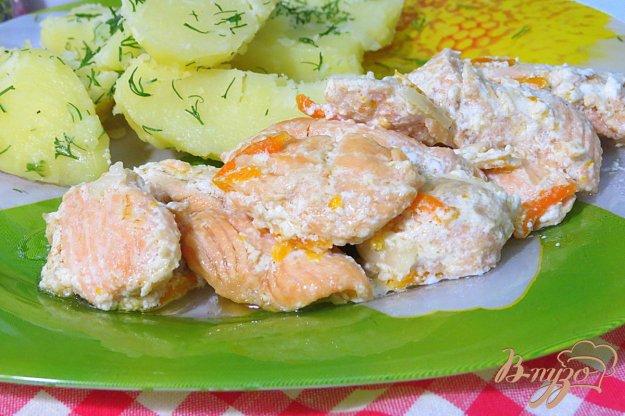 фото рецепта: Ломтики лосося со сливками