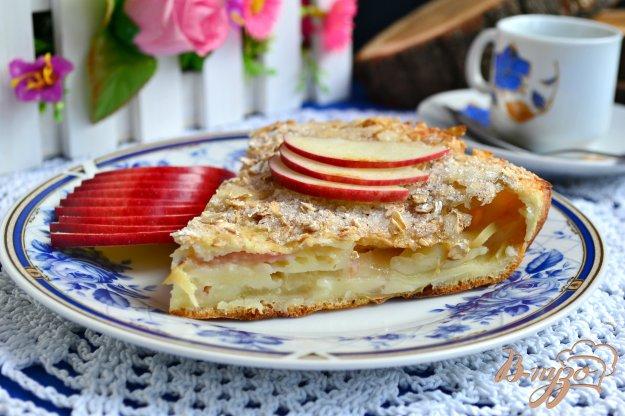 фото рецепта: Наливной пирог с яблоками и хрустящей овсяной корочкой