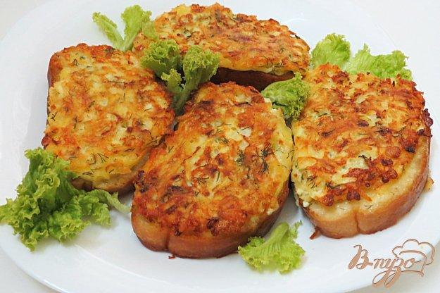 фото рецепта: Горячие бутерброды с картофелем,  луком и сыром