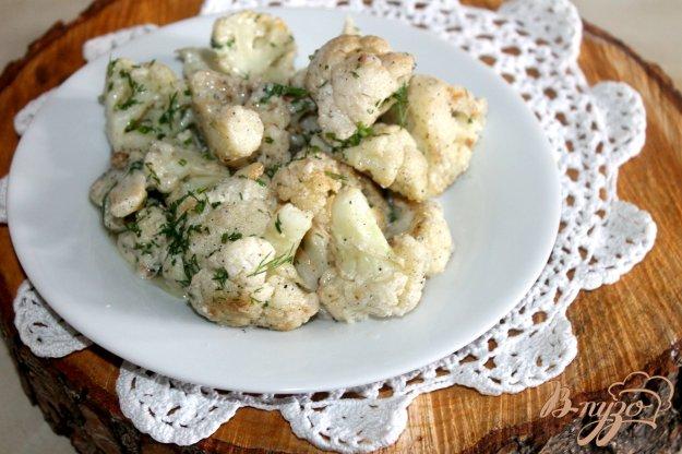 фото рецепта: Тушенная цветная капуста в сливках с сыром