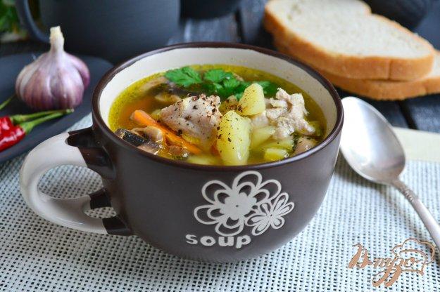 фото рецепта: Картофельный суп со свининой и шампиньонами