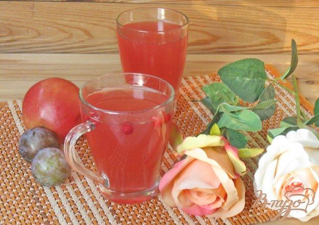 фото рецепта: Компот из яблок, слив и брусники