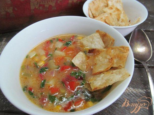 фото рецепта: Томатный суп с кукурузой и чипсами из лаваша