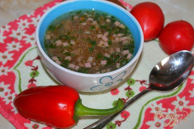 фото рецепта: Суп с колбасой и кабачком