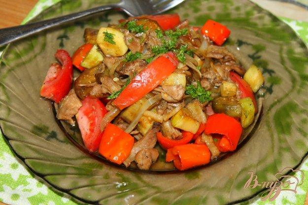 фото рецепта: Тушеные овощи в соевом соусе с куриным мясом