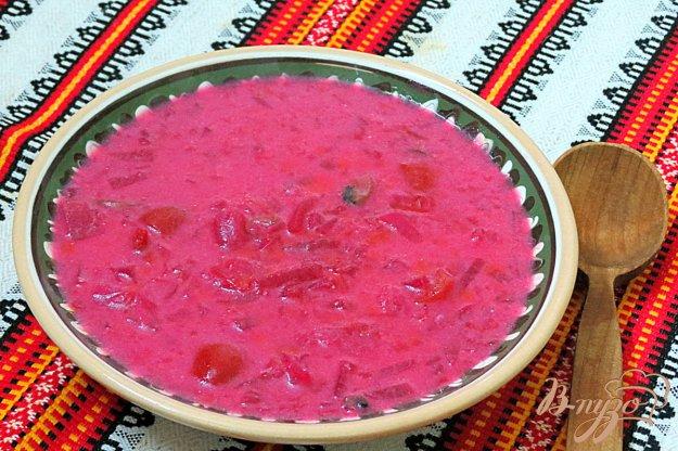 фото рецепта: Красный борщ с помидорами и шампиньонами