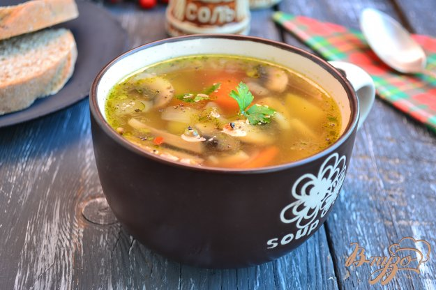 фото рецепта: Овощной суп с шампиньонами и вермишелью