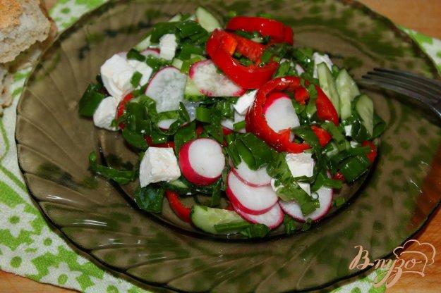 фото рецепта: Салат с редисом, шпинатом и сыром Фета