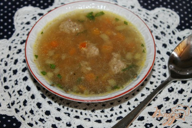 фото рецепта: Суп с ленивыми фрикадельками, баклажаном и вермишелью