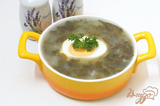 фото рецепта: Щавелевый суп с картофельным пюре м рисом