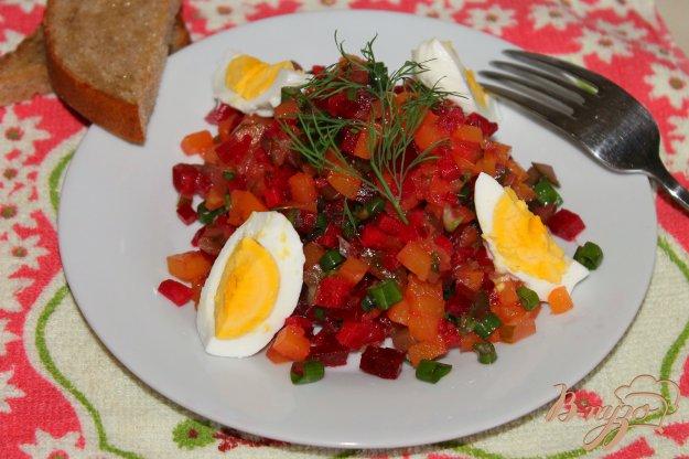 фото рецепта: Салат с печеной тыквой, свеклой и яйцом