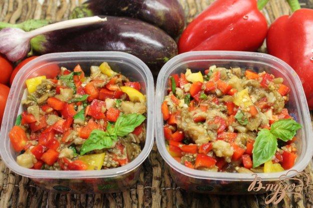 фото рецепта: Печеные баклажаны замороженные с перцем, помидорами и базиликом