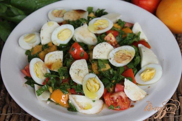 фото рецепта: Салат из помидор с моцареллой и перепелиными яйцами
