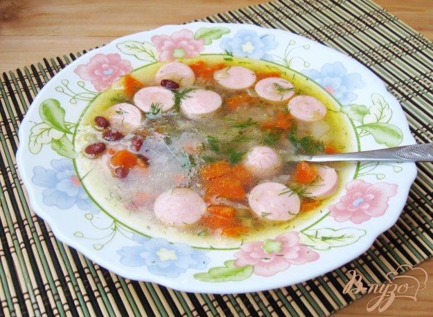 фото рецепта: Суп с красной фасолью и сосисками